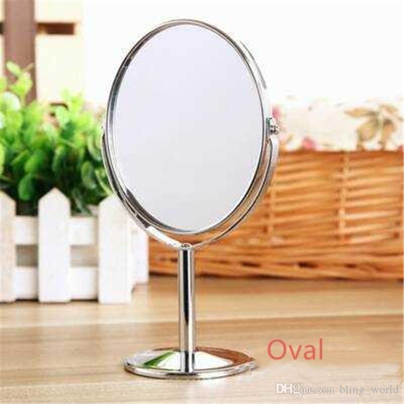 Make-up Mirror Silver Metal Mirror Dual Side Vanity Desktop Mirror Rotating 1: 2 Zoom Function Makeup 3 Inch Girls Make-up Essential LDH 26