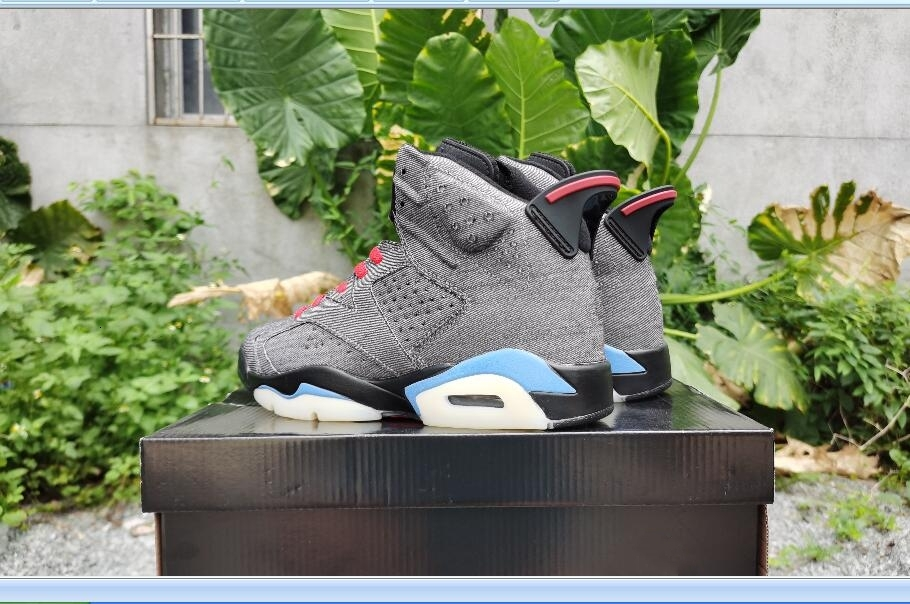 2020 New arrival High top 6s high quality Washed denim Brown leather shoe Racing Shoes size 40-47