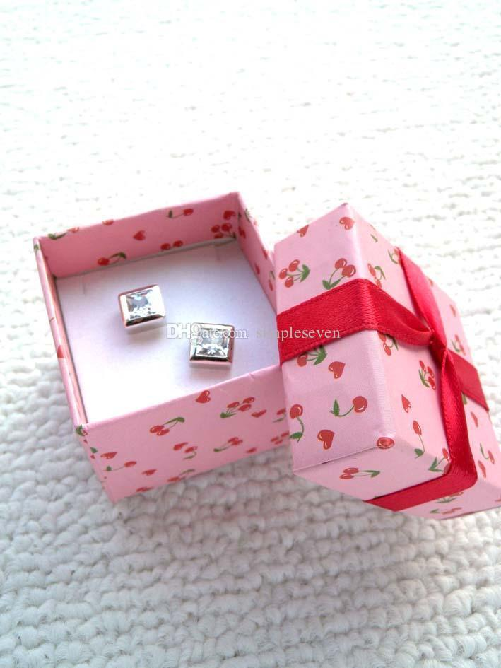 [Simple Seven]Lovers Ring Box/Cheery Pink Pedant Box/ Fashion Necklace Package/ Special Jewelry Case/Trend Earring Studs Box with Ribbon