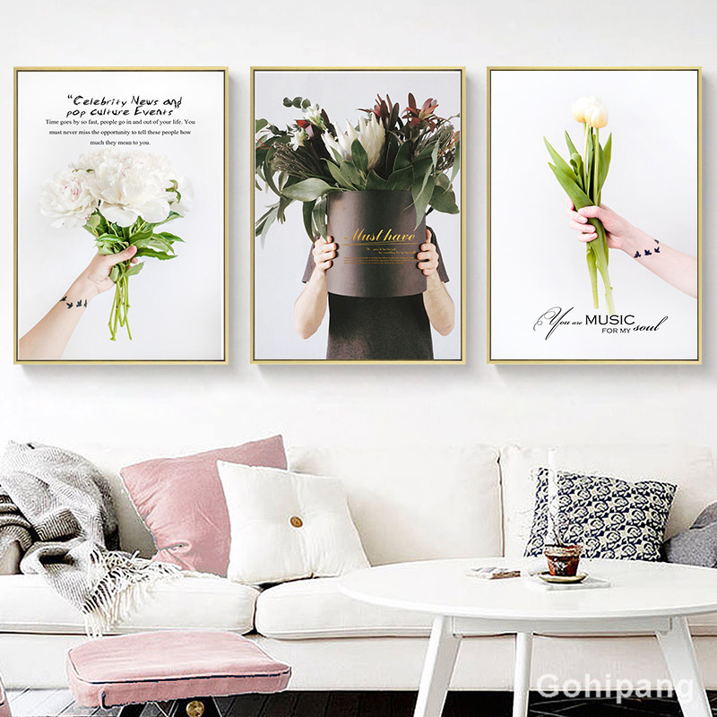 Nordic-Flower-Canvas-Painting-Home-Decor-Poster-Well-known-saying-Bouquet-Picture-Art-Print-Living-Room (1)