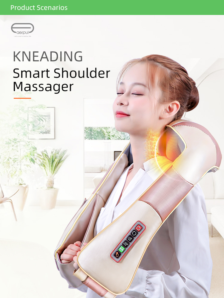 Shiatsu Neck and Shoulder Massager Back Massager with Heat Deep Kneading Electric massage pillow for Neck Back, Shoulder