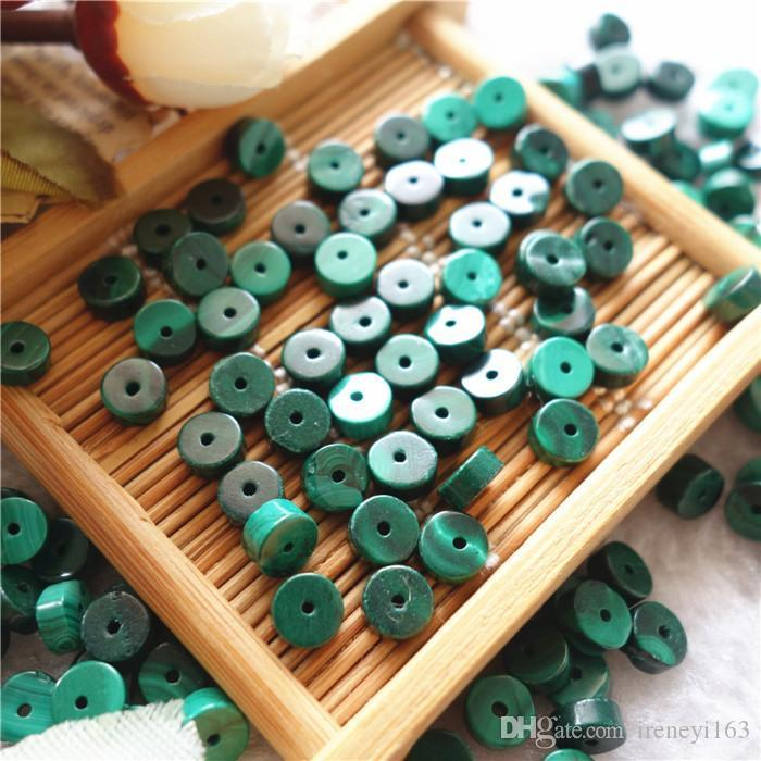 A 100% Natural Malachite Green 6Mm Machine Cut Spacer With Through Hole Wholesale Loose Beads For Jewelry Diy Making