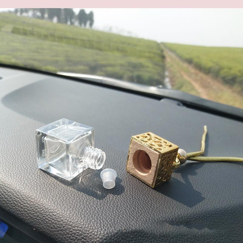 Square Shape Glass Car Perfume Bottles Pendant 6ml Perfume Empty Hanging Car Diffuser Bottle Free DHL 637