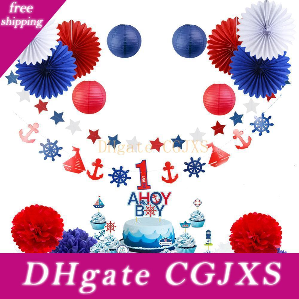 White /& Blue Flag Bunting Banner Boys Party Decoration Garlands 1.3M Ahoy