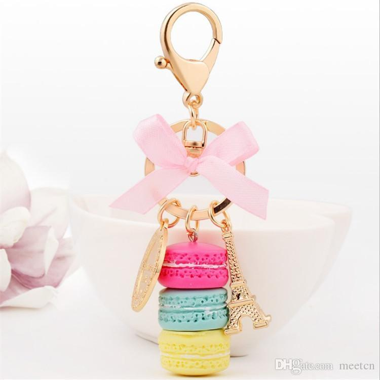 New Creative Macarons Cake Keychains Fashion Key Chains Car Keyrings Accessories Women Bag Charm Pendant Alloy Key Rings Holder Wholesale