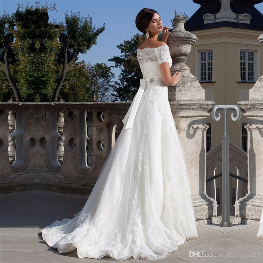 Sexy Off the Shoulder Short Sleeves Wedding Dress With Beading Sashes Applique A-line Bridal Gown vestido de noiva