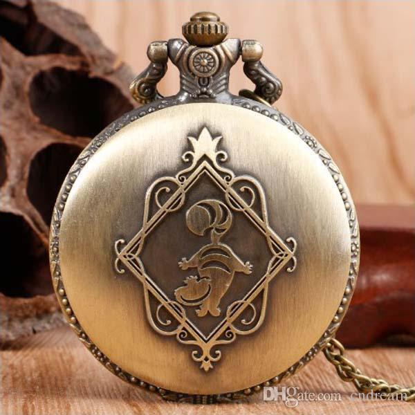 Alice in Wonderland Pocket Watch Ancient Bronze Fob Watch Necklace Fashion Jewelry for Women Kids Gift Drop Shipping