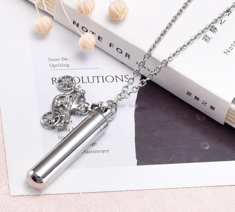 cremation Jewelry Pendant Hold Memorial Ashes Stainless Steel Cylinder Keepsake Urn Necklace