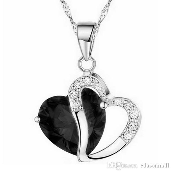 Jewelry Korean Version Of The Heart Shaped Zircon Crystal Necklace Crafts Pendant Jewelry Accessory Gift D294LR