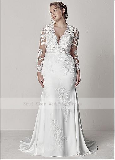 Modest-V-Neck-Lace-Wedding-Dresses-Long-Sleeve-Illusion-Appliques-Mermaid-Plus-Size-Bridal-Gowns-2019 (1)