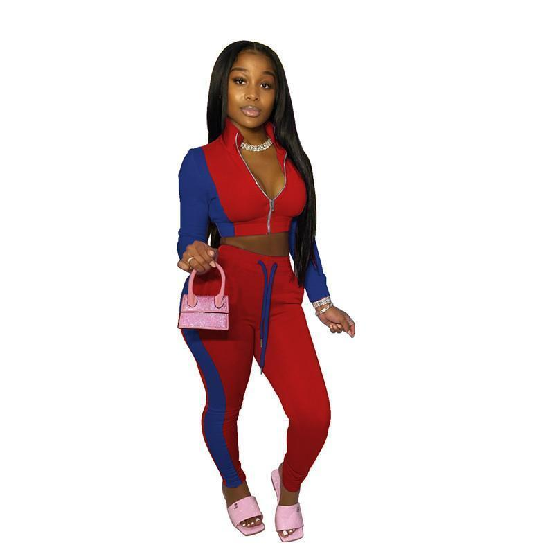 womens hoodie legging two piece set outfits long sleeve tracksuit jacket pants sportswear panelled outerwear tights sports set hot klw5008