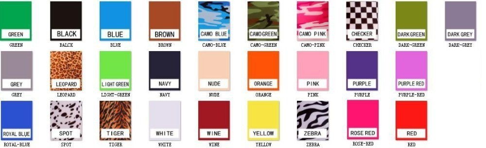 lycra cotton body suit color chart