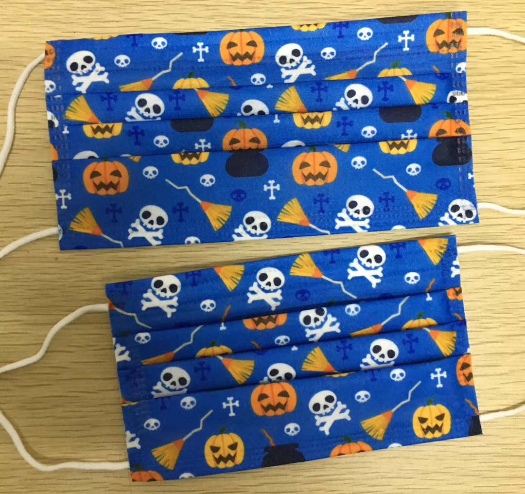 Disposable Masks Halloween Party Cosply Mask Skull Pumpkin Ghost Elastic Ear Loop Non-Woven Breathable Masks Dust Air Anti-Pollution Masks