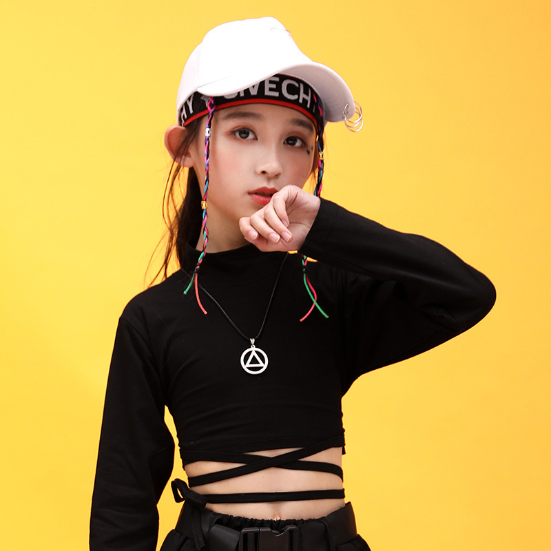 Kids Hip Hop Clothing High Neck Sweatshirt Shirt Top Crop Black Running Casual Pants for Girl Jazz Dance Costume Dancing Clothes (8)