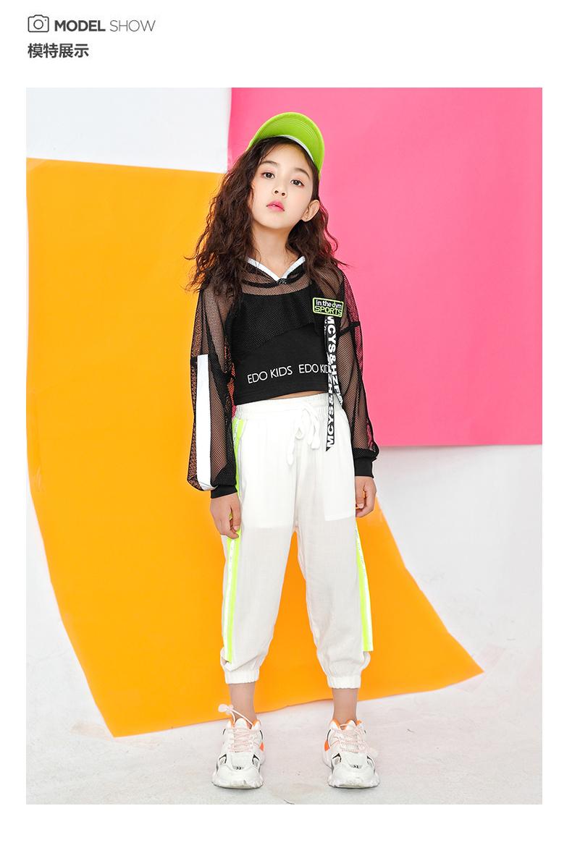 Toddler Girls Oversize Full Sleeve Hoodies Hip Hop Ballroom Jazz Dance Costumes Kids Boy Skirttrousers Clothing Set Team Wear (10)