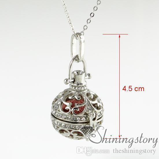 openwork rhinestone volcanic stone diffuser necklaces wholesale aromatherapy inhaler diffuser necklace wholesale oil diffuser necklace