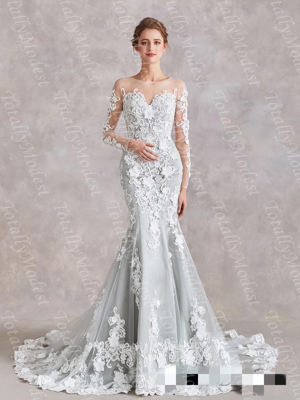 Bunte Silbergrau Mermaid Brautkleider mit langen Ärmeln Elfenbein-Spitze  Tüll Luxus Perlenstickerei Non-weißen Brauthochzeits-Kleid mit Farbe