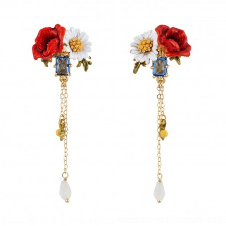 Oro Flor Semental Aretes Amapola Rosa Hueco Margarita Mariposa 925