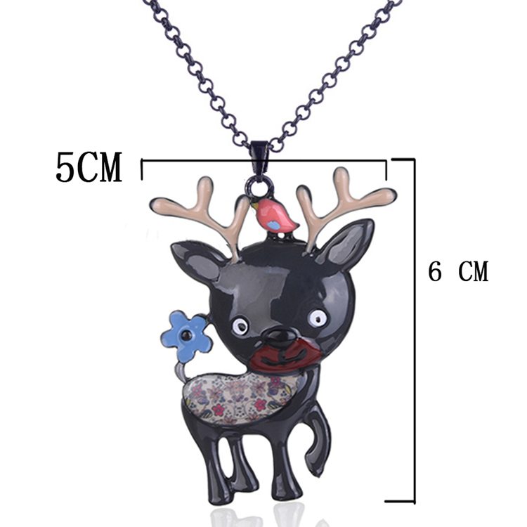 cring coco 2020 Personalized Cute Deer Necklace Long Sweater Statement Pendants Necklaces for Women Girlfriend Christmas Gifts