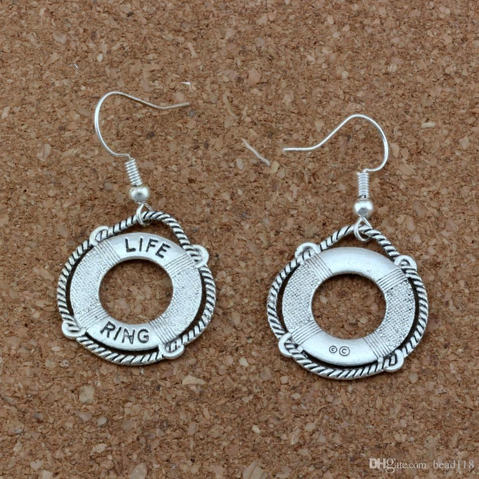 NAUTICAL LIFE SAVER RING Charm Earrings silver Fish Ear Hook Antique silver Chandelier Jewelry DIY 21.8x40mm A-418e