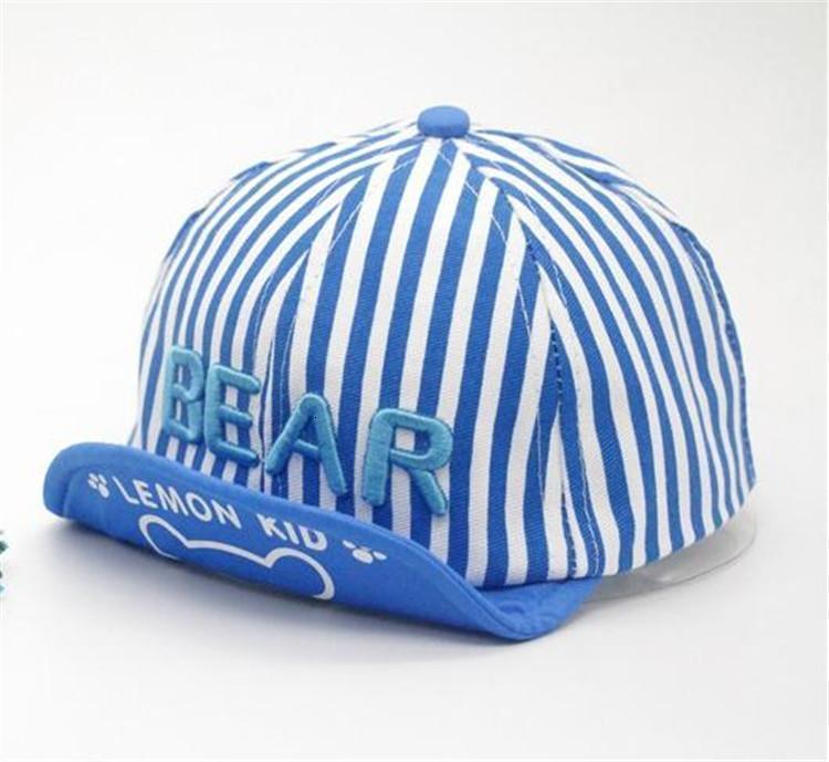 Hot Sale Spring Summer Hats Kids Sunhats Cute Bear baseball Stripe Printed Peaked Cap Children Boys Girls Baseball Hats Baby Ball Hats