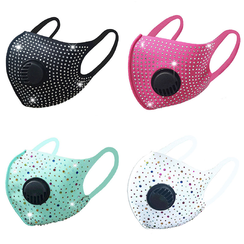 Fashion face mask Diamond With Breath Valve Pure cotton dust and sun protect Face Mouth Mask Wide Straps Washable Reusable designer masks