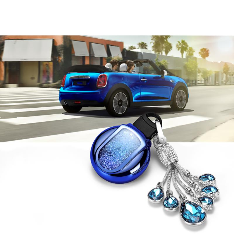 2 Pieces Auto Car Smart Key Fob Rings Rim Trim Cover for BMW Mini Cooper Red and Blue