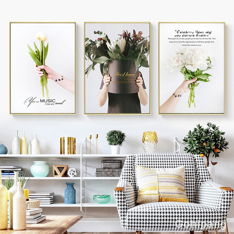 Nordic-Flower-Canvas-Painting-Home-Decor-Poster-Well-known-saying-Bouquet-Picture-Art-Print-Living-Room (3)