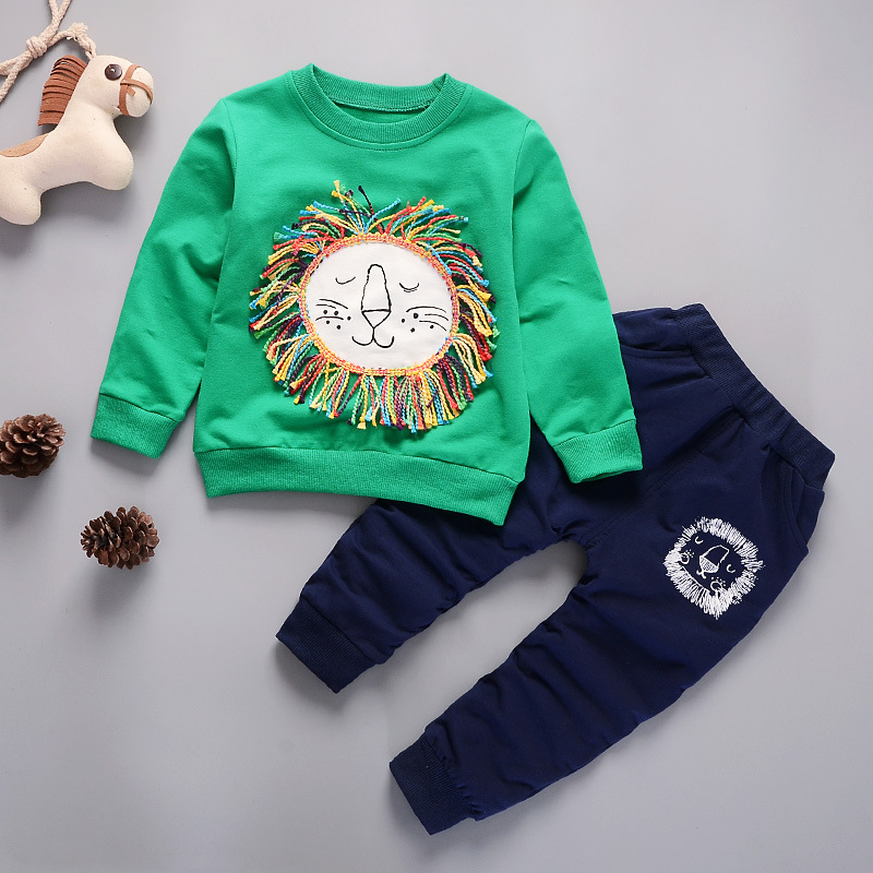 Baby Boy Tracksuit Hoodie Short Sleeve Sweatshirt and Pant Solid 2 Pieces Sport Suit for Age 0-5 Years Old