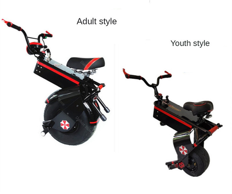 Electric Scooter 1500W One Wheel Self-balancing Scooter Motorcycle Seat 110KM 60V Electric Monowheel Scooter 18 Inch Wide Wheel (19)