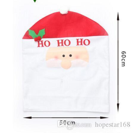 Halloween Christmas Santa Claus Snowman Elk Hat Chair Back Cover Dinner Decoration Cap Set For Christmas Decorations Party Holiday