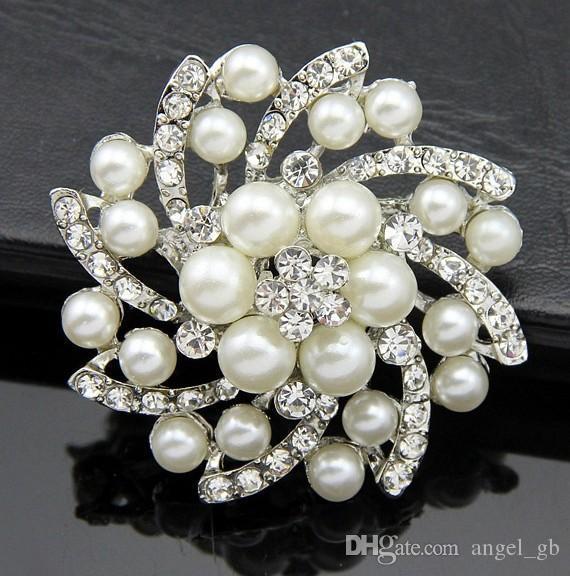 SALE 10 Rhinestone Brooch Embellishment Crystal Pearl Silver Wedding Brooch Bouquet Cake Decoration Hair Comb Shoe Clip BR527