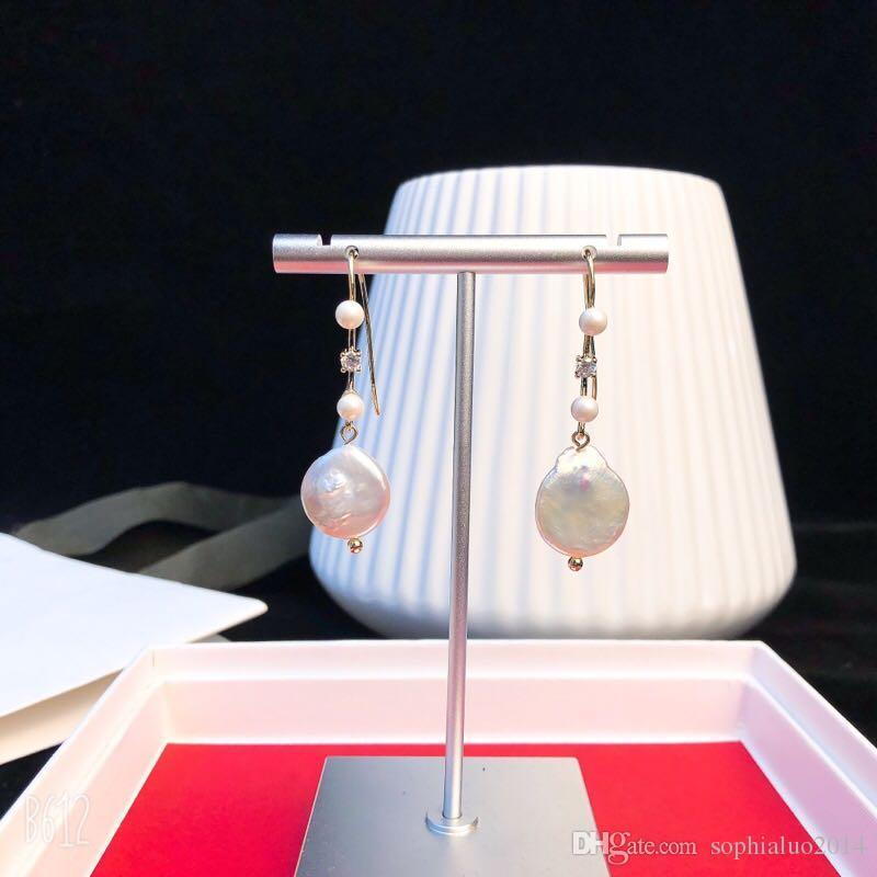 Vintage Copper Round Chain Round White Pearl Charm Dangle Earrings For Women Jewelry