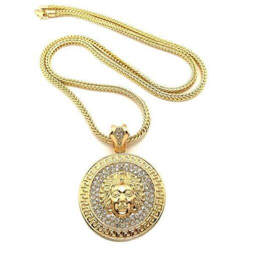 Mens Hip Hop Long Necklace Jewelry Gold Slver Chains Iced Out Necklace Diamond Pece Pendant Statement Necklaces Women Men
