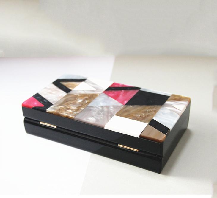 Women`s Evening Handbag Purse Clutch Acrylic Stripes Shoulder Bag For Party Champagne Evening Bag