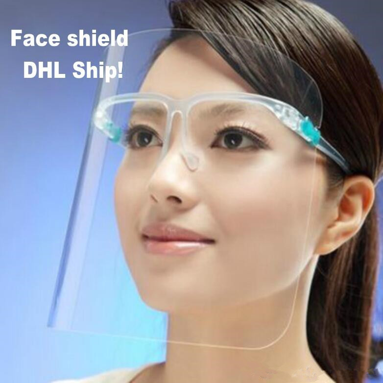 DHL PET Protective Face Shield Full Face Isolation Transparent Anti-Fog Mask Plastic Protection Prevent Protective Products
