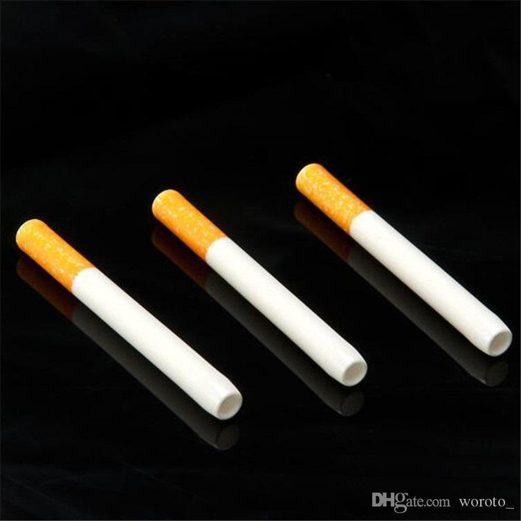 China Wholesale Cheap Food Grade Ceramic Cigarette Hitters Sparkle Coffee Yellow Filter Colored Smoking Pipe Metal Aluminum