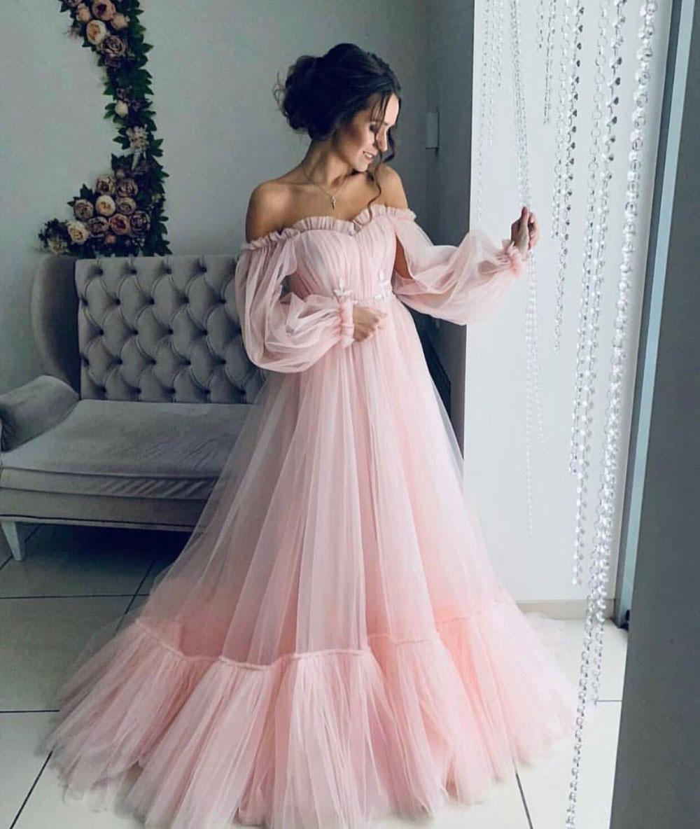 erröten rosa tüll abendkleider weg von der schulter a-linie mit langen  Ärmeln schatz-ausschnitt mutterschaft abendkleid für schwangere