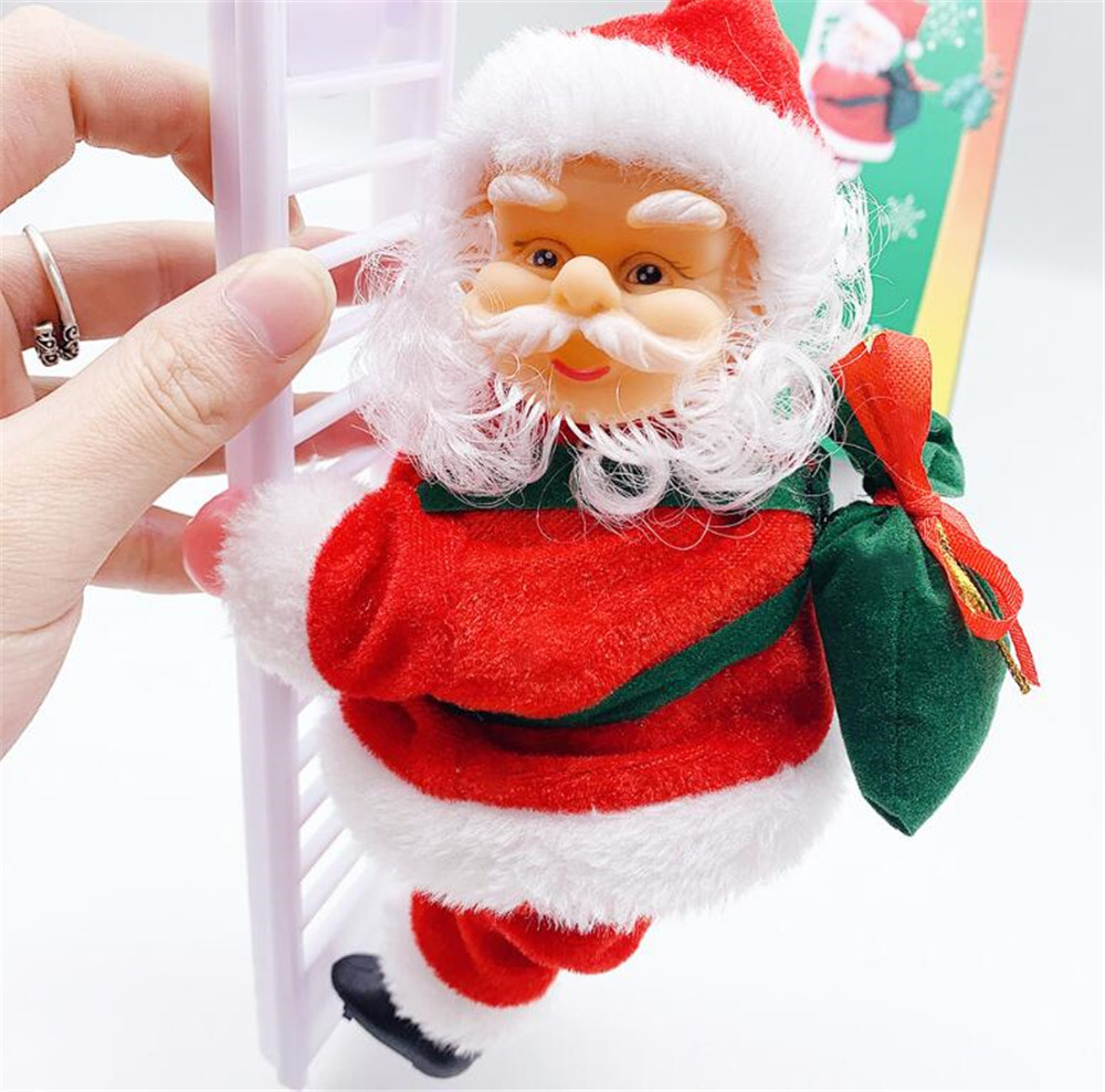 New Festive 2020 Santa Claus Climbing Ladder Electric Doll Christmas Tree Hanging Ornament Outdoor Indoor Door Wall Decoration