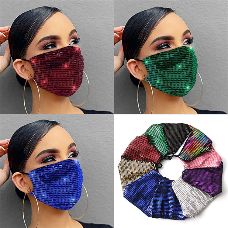 PET Color Sequin Mask Ear Hanging Personalized Sunscreen Face Mask Double Cotton Reusable Mask Can be Washed T3I5914