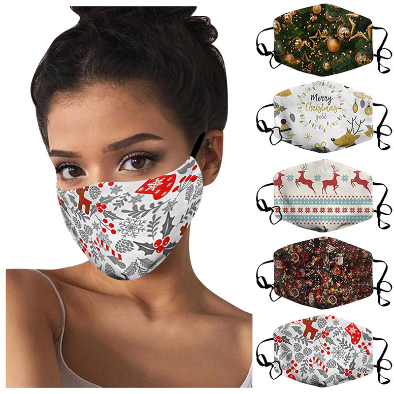 13 Styles Cartoon Merry Christmas Elk snowflake Santa Claus Face Masks Adult Xmas party Masks Anti Dust Mouth Cover Washable Reusable masks