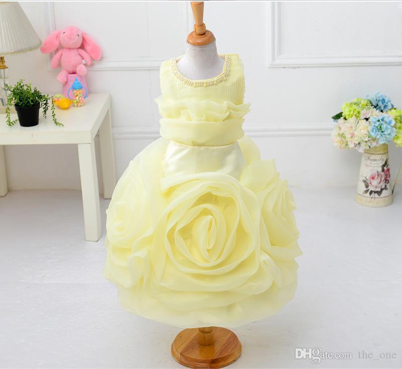 Girls dresses summer new sleeveless Waist Chiffon Dress Toddler Girls 3D Flower Princess Kids Party wedding Formal Dress