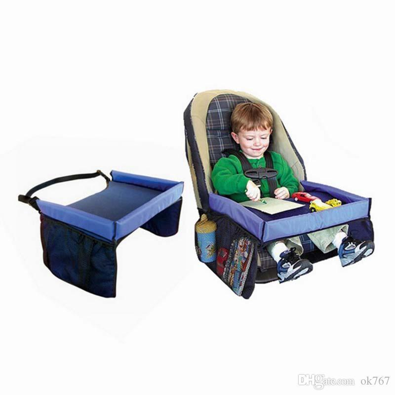 Travel Baby car safety seat tray Childrens Snack Play tray waterproof Foldable car dining table drink rack