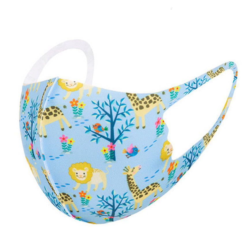 kids face mask fashion face masks Children's ice silk cartoon printed reusable washable facemask camo animal protective breathable mask