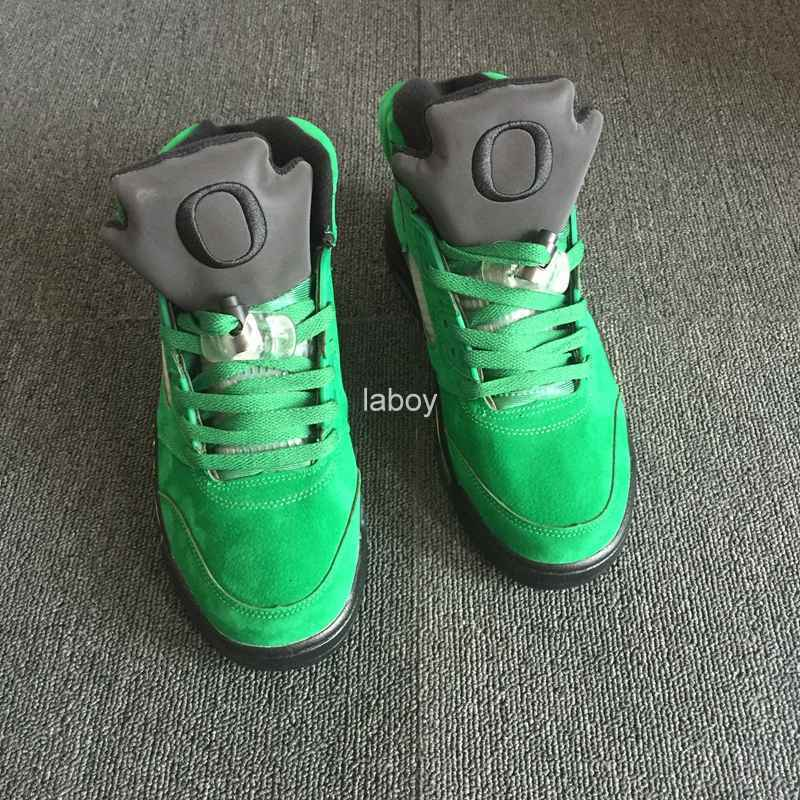 New 5 V Mens Oregon Basketball Shoes Green duck Suede Brand Designer Men Sneakers Basket Ball Man 5s Trainers Sports Shoes 41-47