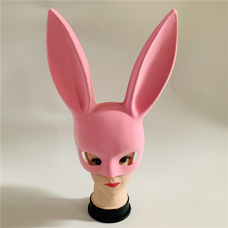 Long Ears Rabbit Mask Bunny Mask Party Costume Cosplay Halloween Masquerade Pink/Black Halloween Masquerade Rabbit Masks