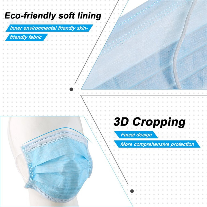 face mask filter mask 3-layer disposable mask can block dust and air pollution prevention pm2.5 masks DHL shipping Stock!