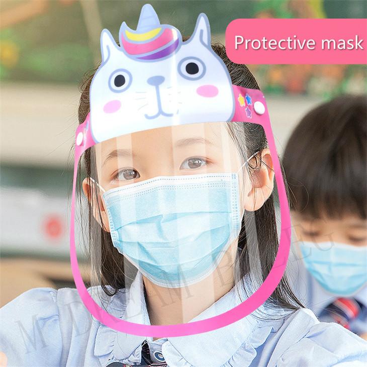 4 Styles Anti-fog Safety Child Face Shield Transparent Anti-spitting Splash Clear ECO PET Reusable Protective Anti-splash Face Shield Mask
