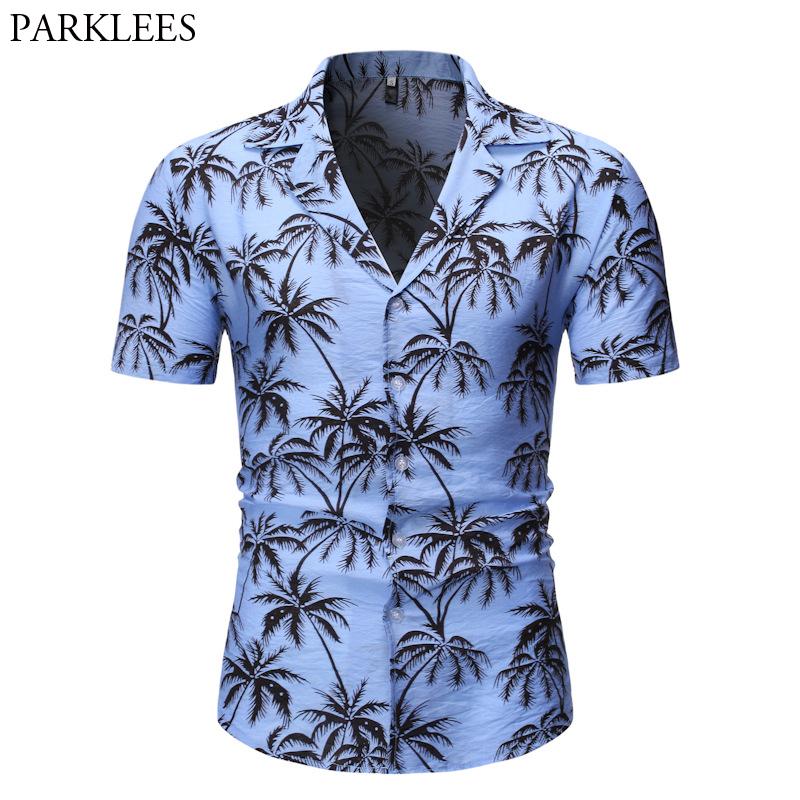 Camicia hawaiana da uomo Allover Flower Beach Aloha Party Casual Vacanza Manica Corta