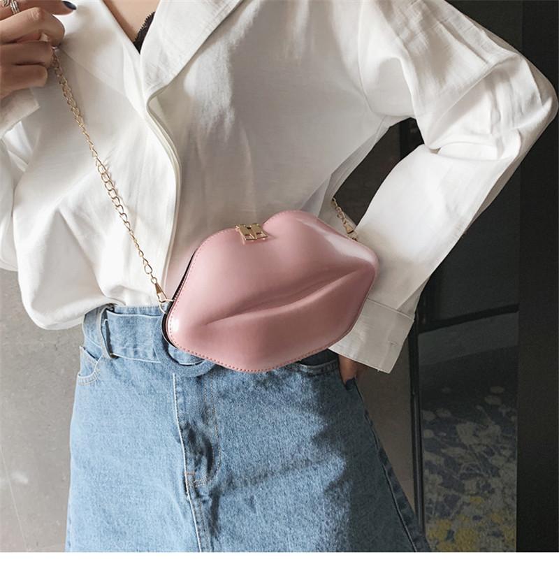 Amazon hot sell lip shape bag women Fashion Lips Pu Chain Purse Shoulder Bag Handbag Women`s Crossbody Mini Messenger Bag
